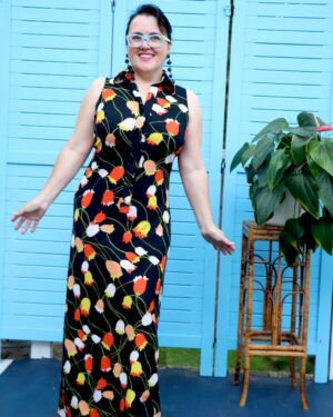 vintage 1970s tulip maxi dress
