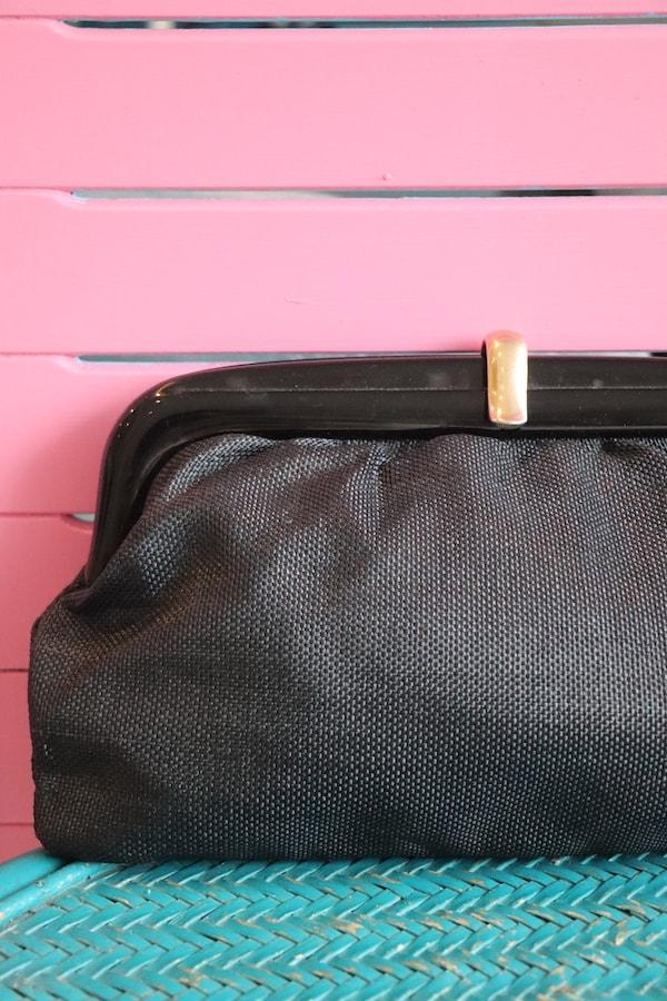 vintage 1980s black clutch bag