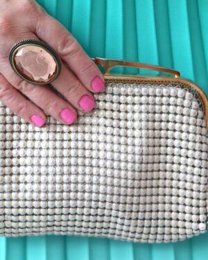 Vintage Glomesh 1970s cream purse