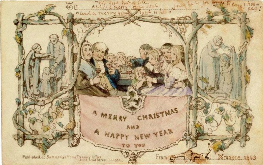 Greetings card, John Callcott Horsley, 1843, England. Museum no. MSL.3293-1987. © Victoria and Albert Museum, London