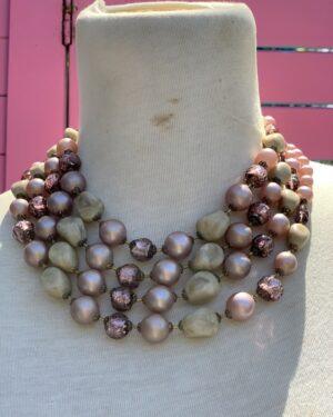Vintage 1950s multi strand necklace