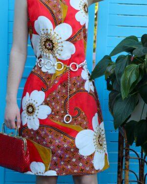 Vintage 1960s flower power dress
