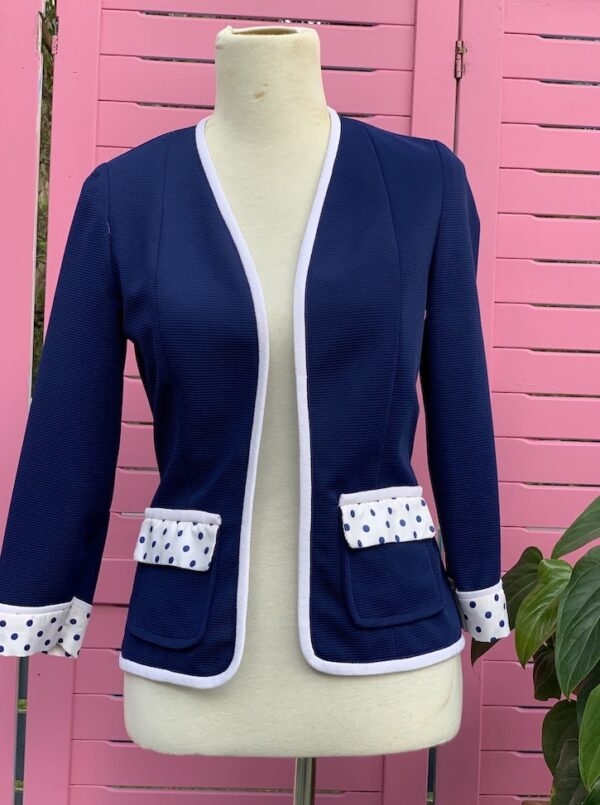 Vintage 1960s navy and white jacket