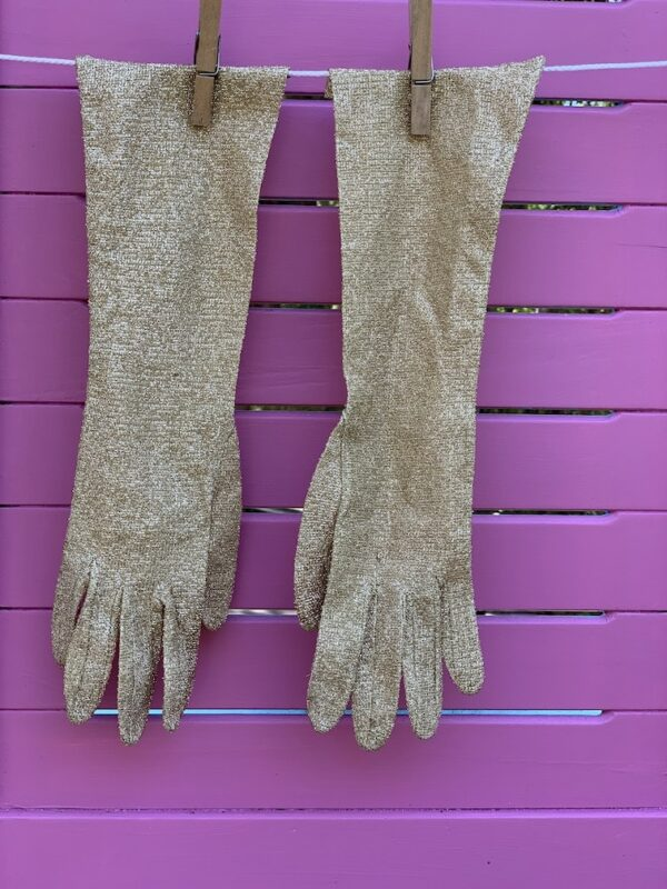 Vintage Dents gold lurex opera gloves