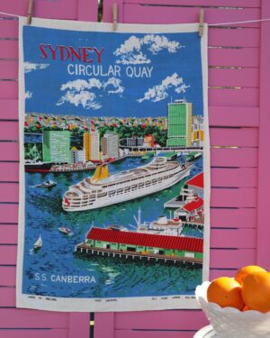 Vintage Sydney linen tea towel by Lamont
