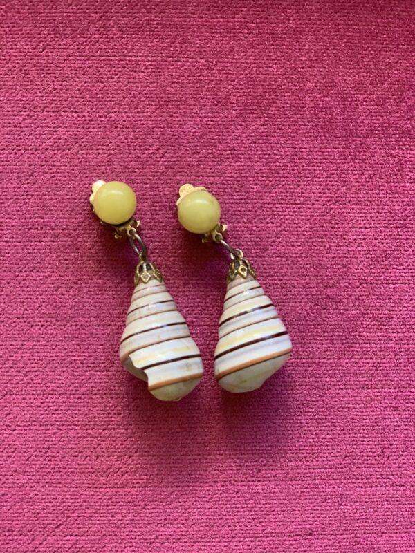Vintage shell clip on earrings