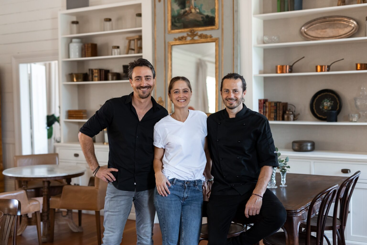 L-R: Pierre and Alena Rayrolles and head chef, Julien Audibert-Lebon. Image: Will Taylor Photography