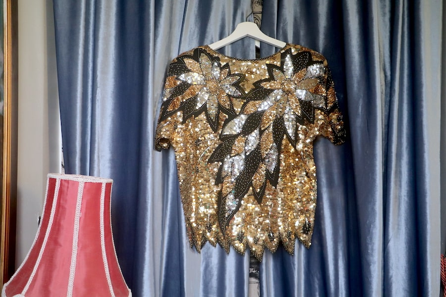 1980s sequin top purchased at Save the Children Op Shop, Bowral. Image: Vintage Travel Kat