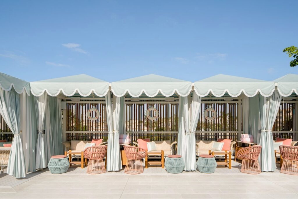 The Goodtime Hotel Strawberry Moon pool cabanas by Alice Gao