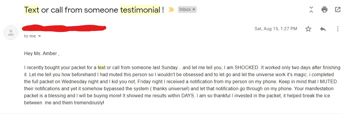 law of attraction testimonial