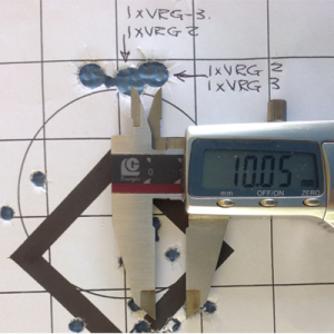 Dual groupings, 350 gr Solid Copper and BushMaster, 50m, velocities of 2260fps