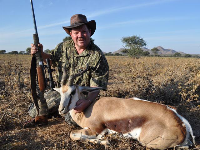 Springbuck, 378 Wby,  236gr PlainsMaster, 300 yards, broadside shot.
