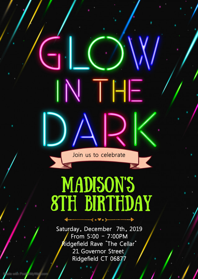 Copy of Glow birthday party invitation - Made with PosterMyWall