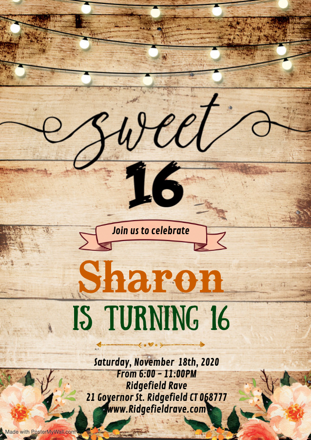 Copy of Sweet 16th birthday invitation - Made with PosterMyWall (1)