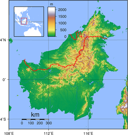 Borneo Elevation Map