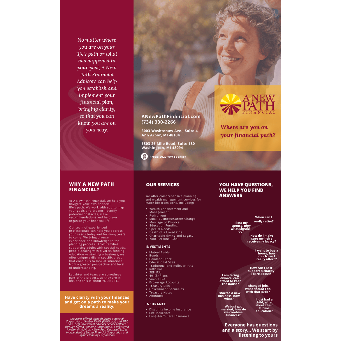 A New Path Financial Trifold Brochure