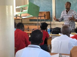 Director Ernso Teaches English in Old School Classroom