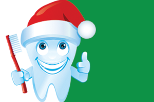 Tooth smiling and wearing a santa hat