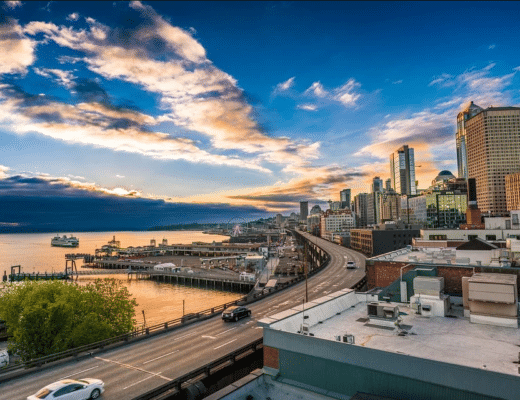 A Seattle sunset with a marina view.