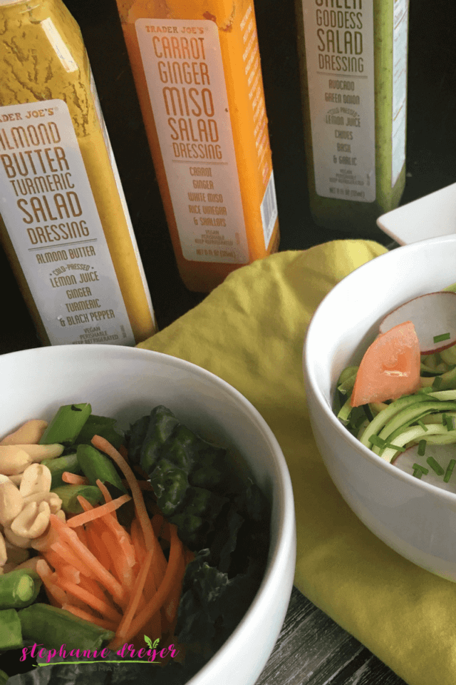 The new vegan Trader Joes dressings are for so much more than topping salads. Try this inspired list of healthy and flavorful meal ideas #vegan #dressing