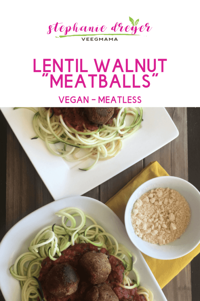 These Lentil Walnut Meatballs are a delicious plant-based alternative for topping spaghetti and/or vegetable noodles. Top them with my easy marinara.