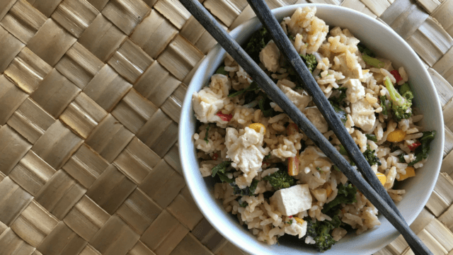 This Tofu Vegetable Fried Rice comes together in 30 minutes with just a handful of ingredients thanks to some help from Trader Joe's!