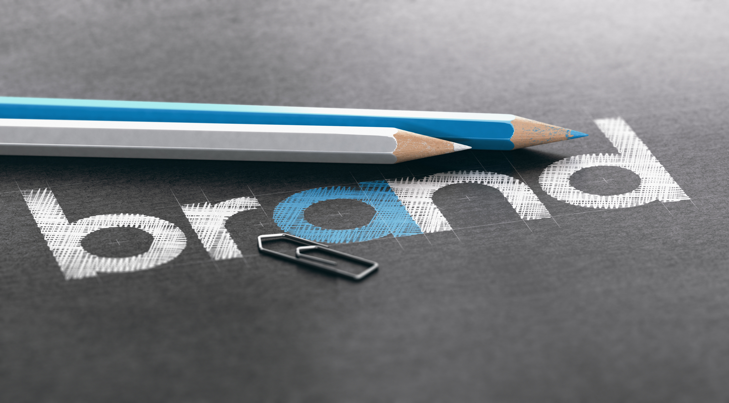 Brand name written over black paper background with white and blue wooden colored pencils. 3D illustration