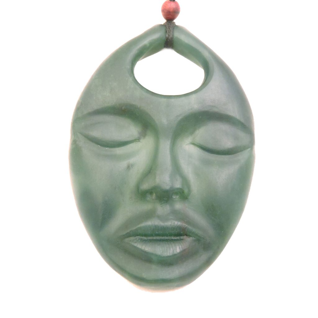 Artist Justin Barrett Jade Carver, Ogden BC Pendant Carving, Nephrite, Abstract Sleeping Demomn