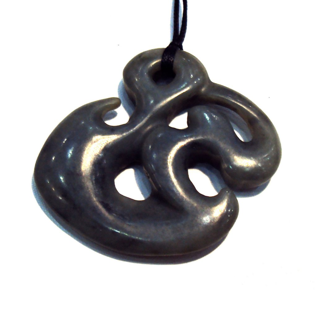 Artist Justin Barrett Jade Carver, Big Sur Jade Pendant Carving, Nephrite. Abstract