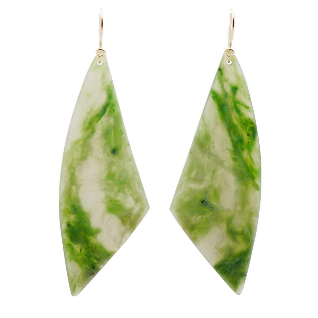 Artist Justin Barrett Big Sur Flower Jade Earrings