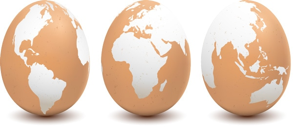 Eggs marked as globes