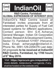 Indian Oil R&D Centre Tender Advertisement