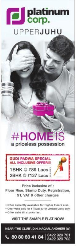 Platinum Corp Upper Juhu Advertisement in TOI Mumbai