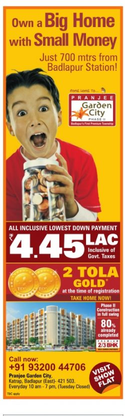 Pranjee Garden City Advertisement in TOI Mumbai