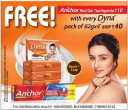 Dyna Soap Free Anchor Red Gel Toothpaste Ad in Rajasthan Patrika Kota