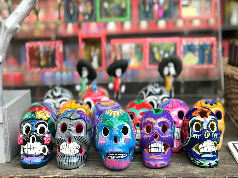 A display of decorated clay skulls
