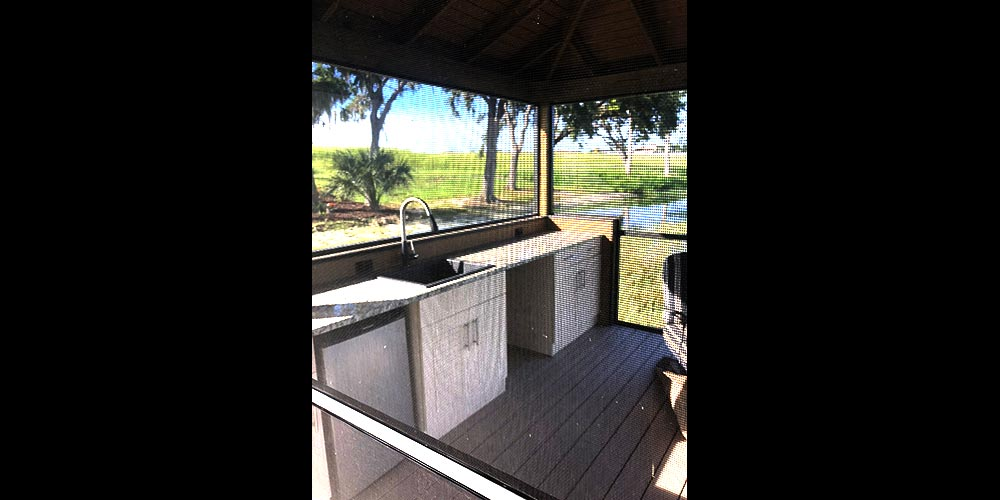 Photo of deck with kitchen