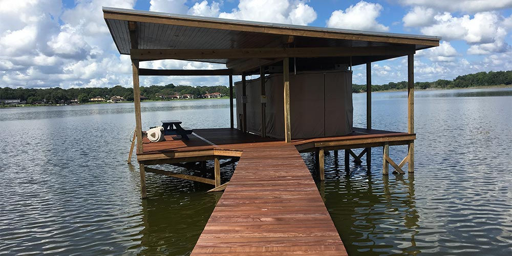 Photo of deck to dock with arbor