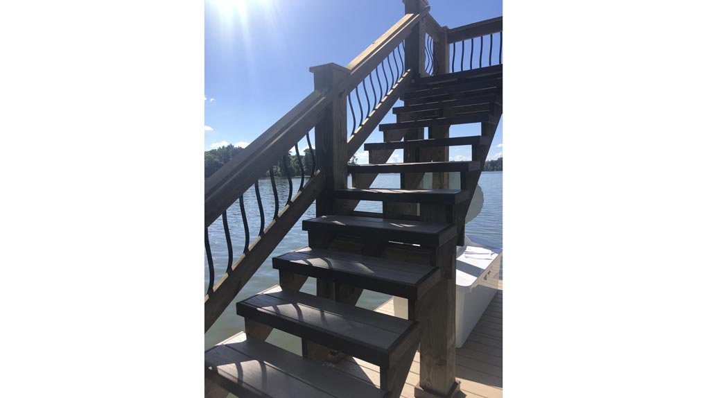 Stairs on dock photo