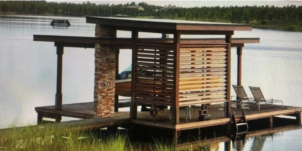 Photo of deck / dock with wood and stone arbor