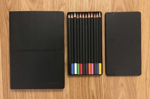 Leather Journal, Color Pencils, and Card