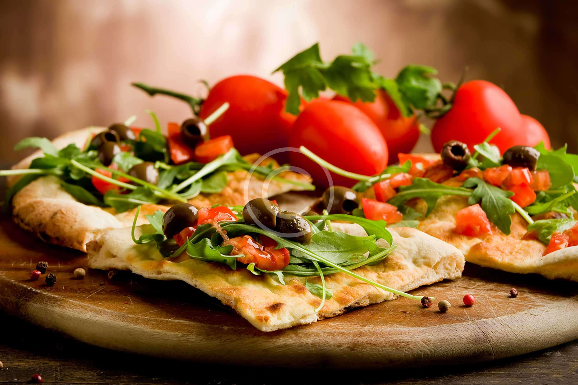 Lavash Pizza with Tomatoes and Mozzarella