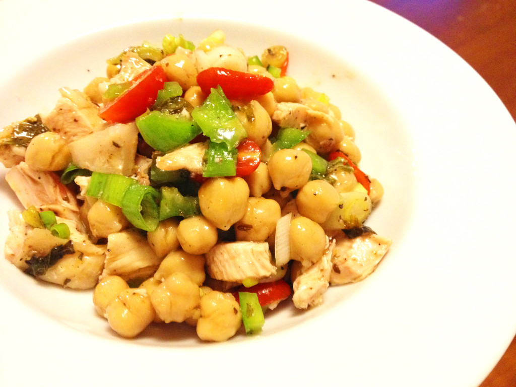 An easy salad can be made from leftover chicken breast and a can of chickpeas.