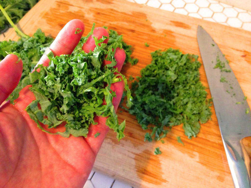For the Kale Slaw with Sesame Honey Dijon Dressing, finely chop the kale crosswise, for the best texture and ease of eating. Photo © Ben Young Landis.