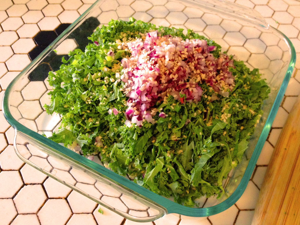 The approximate size and proportion of key ingredients in the Kale Slaw with Sesame Honey Dijon Dressing. Photo © Ben Young Landis. Read the story on www.seefoodwrite.com.