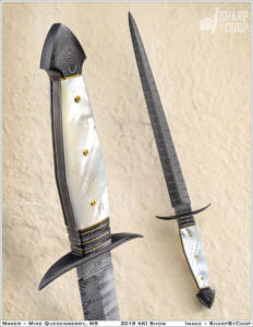 Integral Dagger, ladder pattern Damascus with mother of pearl. AKI 2019
