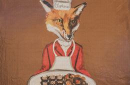 Fox with the tray of chocolates by local artist Debbie Cadenas,