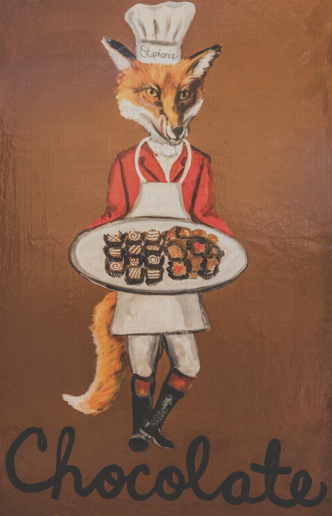 Fox with the tray of chocolates by local artist Debbie Cadenas,