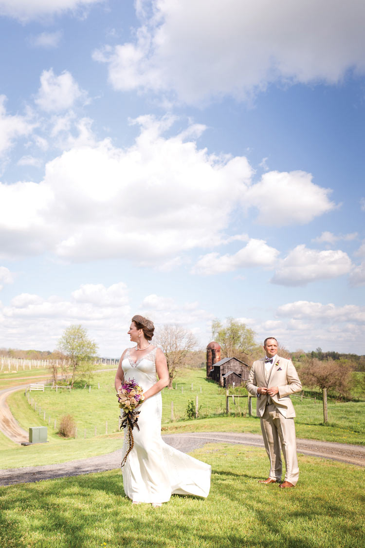 The bride and groom on the rolling hills at Three Fox.