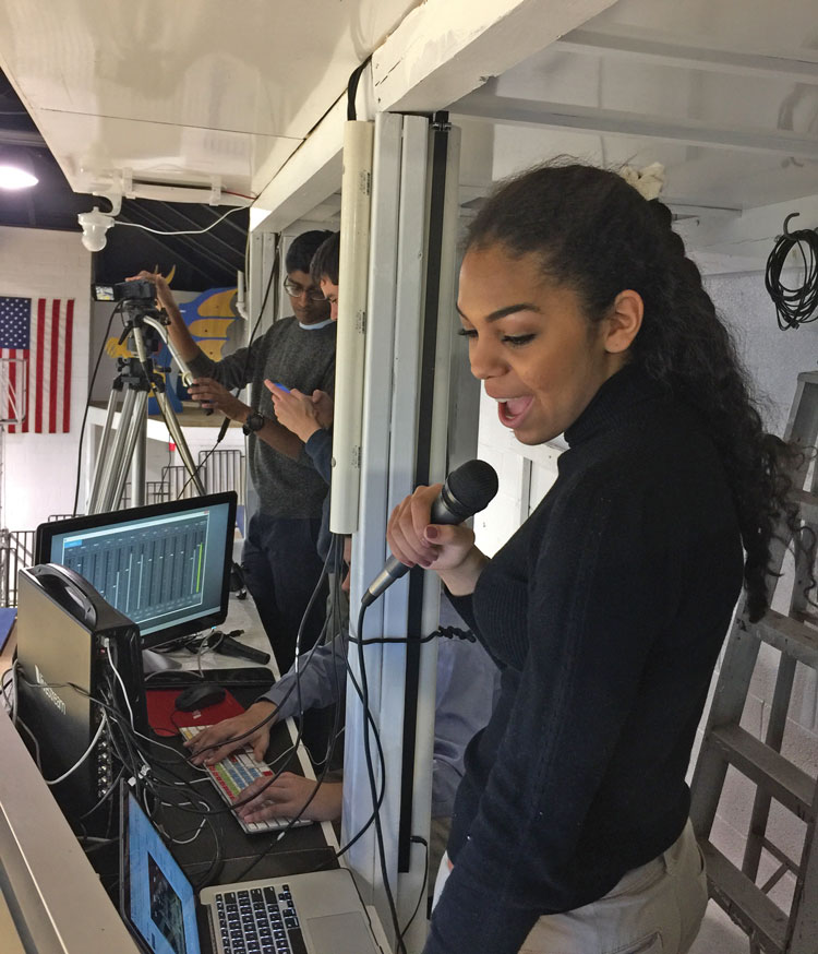 Sophmore Chlesea Penfield during a live stream broadcast on youtube.